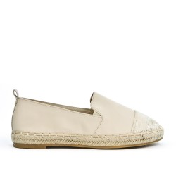 Beige faux leather espadrille