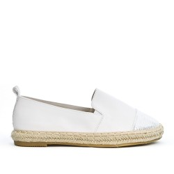 White imitation leather espadrille
