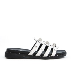 White sandal with flanges in faux leather