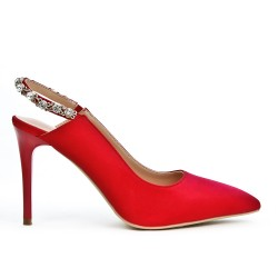 Red pump open back