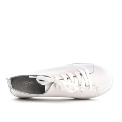 White leather lace-up basket
