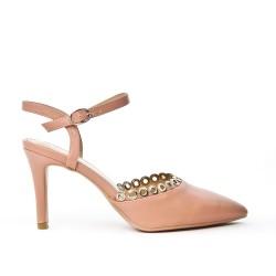Pink imitation leather sandal with heel