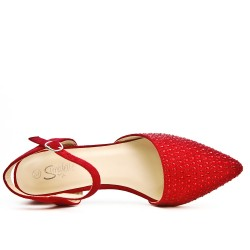 Red sandal with rhinestones and square heels