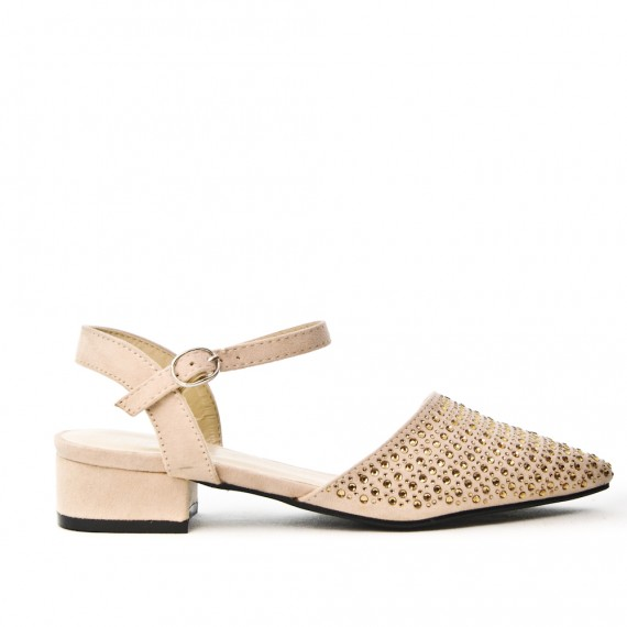 Pink sandal with rhinestones and square heel