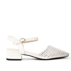 White sandal with rhinestones and square heels