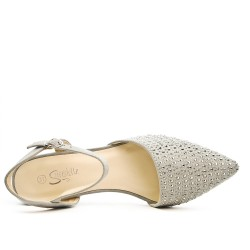 Gray sandal with rhinestones and square heel
