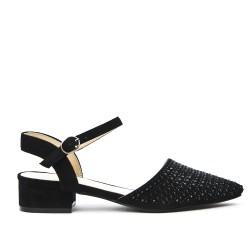Black sandal with rhinestones and square heel