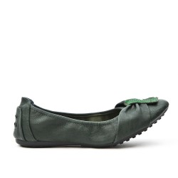 Dark green comfort ballerina in faux leather