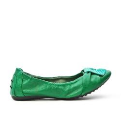 Bailarina de confort verde en piel sintética