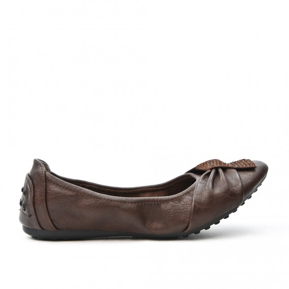 Brown comfort ballerina in faux leather