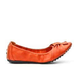 Orange comfort ballerina in faux leather
