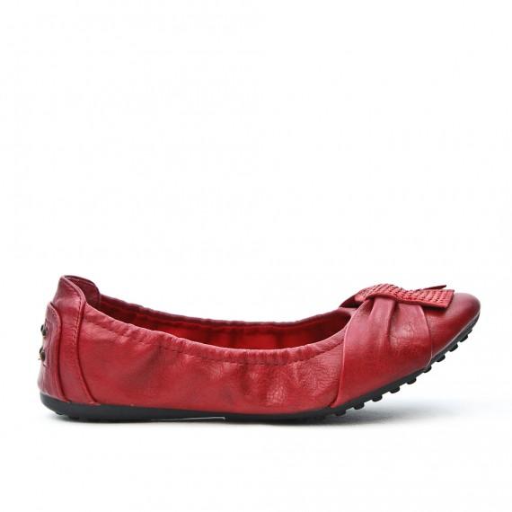 Burgundy comfort ballerina in faux leather