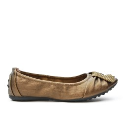 Bronze comfort ballerina in faux leather