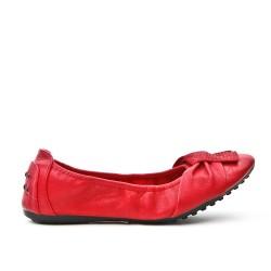 Ballerine confort rouge en simili cuir