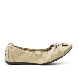 Ballerine confort taupe en simili cuir