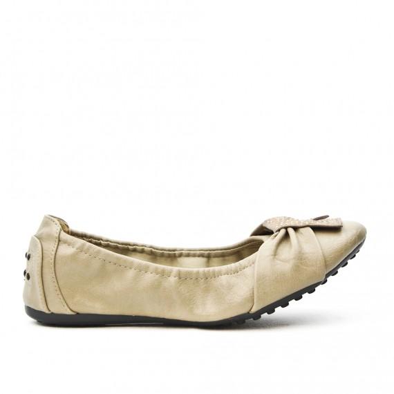 Comfort beige ballerina in faux leather