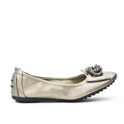 Ballerine confort gris orné de chaîne en métal
