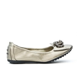 Gray comfort ballerina with metal chain