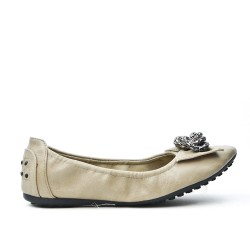 Taupe comfort ballerina with metal chain