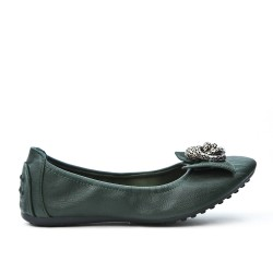 Dark green comfort ballerina with metal chain