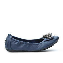 Ballerine confort bleu marine orné de chaîne en métal