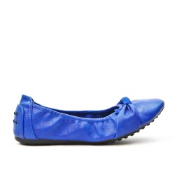 Bailarina de confort azul en piel sintética
