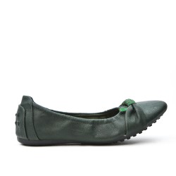 Ballerine confort vert foncé en simili cuir