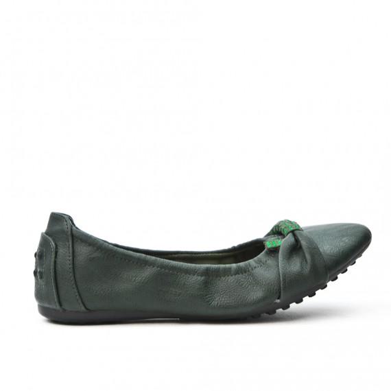 Dark green comfort ballerina in faux leather