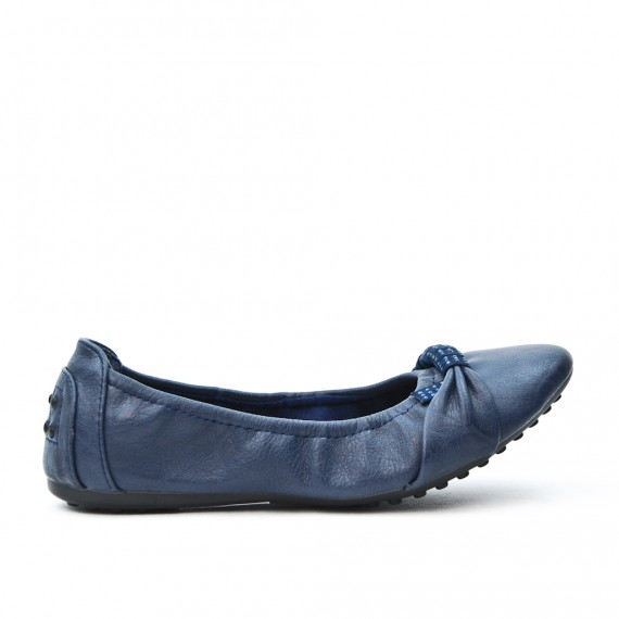 Ballerine confort bleu marine en simili cuir