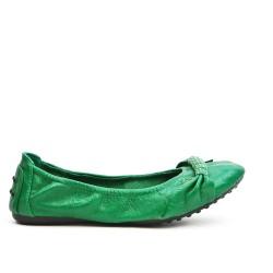 Ballerine confort vert en simili cuir