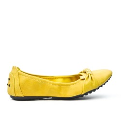 Yellow comfort ballerina in faux leather