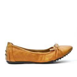 Camel comfort ballerina in faux leather
