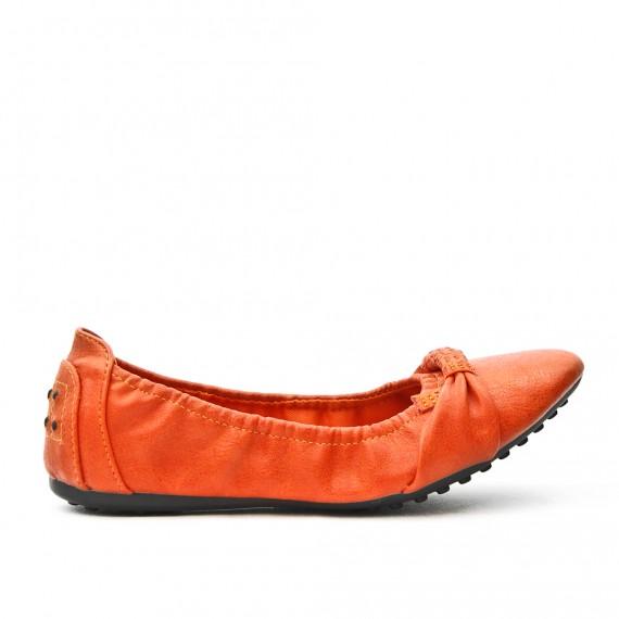 Orange comfort ballerina in faux leather