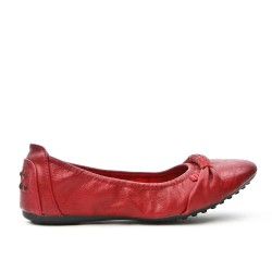 Burgundy comfort ballerina in faux leather