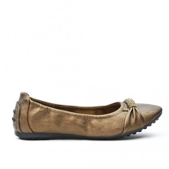 Bronze comfort ballerina in faux leather