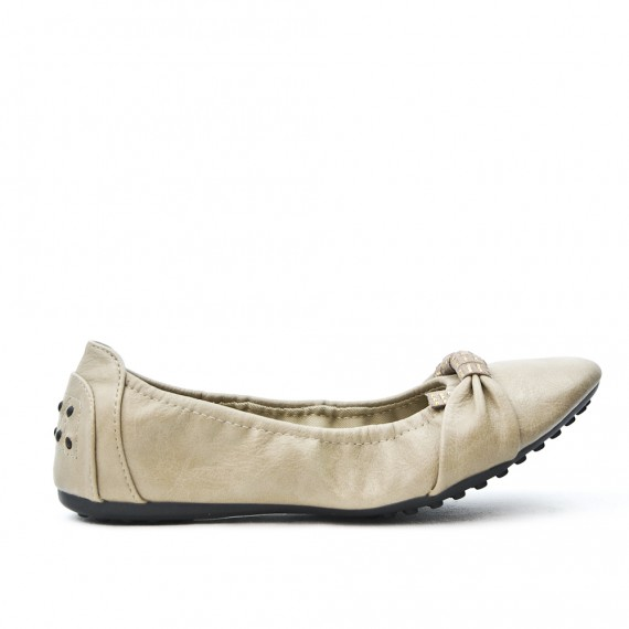 Taupe comfort ballerina in faux leather