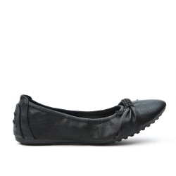 Black comfort ballerina in faux leather