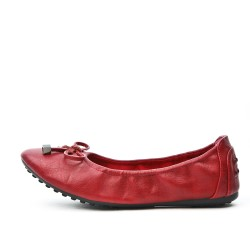 Comfort red ballerina in faux leather with bow