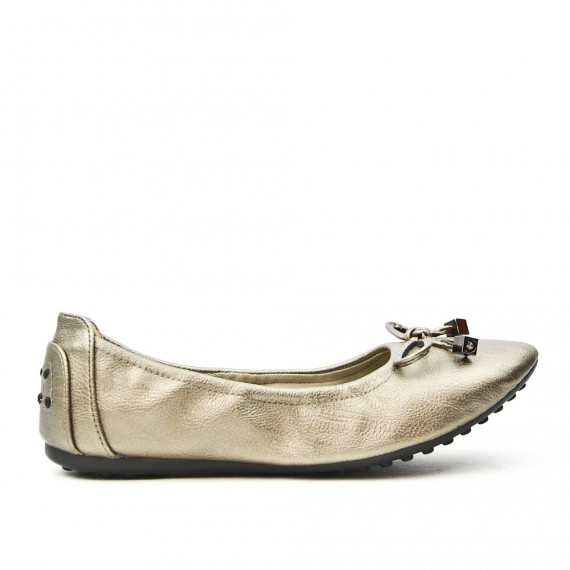 Comfort gray ballerina in faux leather with bow