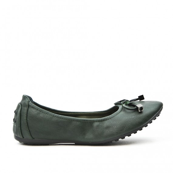 Comfort green ballerina in faux leather with bow