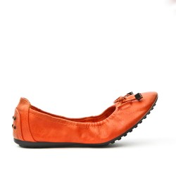 Orange comfort ballerina in faux leather with bow