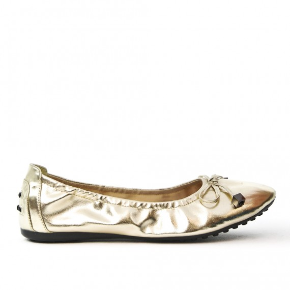 Golden comfort ballerina in faux leather with bow