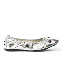 Comfort silver ballerina in faux leather with bow