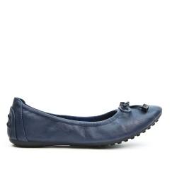 Ballerine confort bleu marine en simili cuir à nœud
