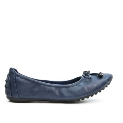 Navy comfort ballerina in faux leather with bow
