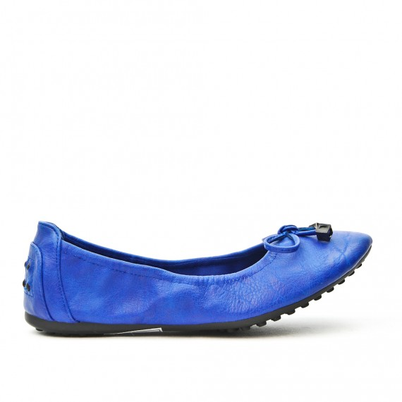 Blue comfort ballerina in faux leather with bow