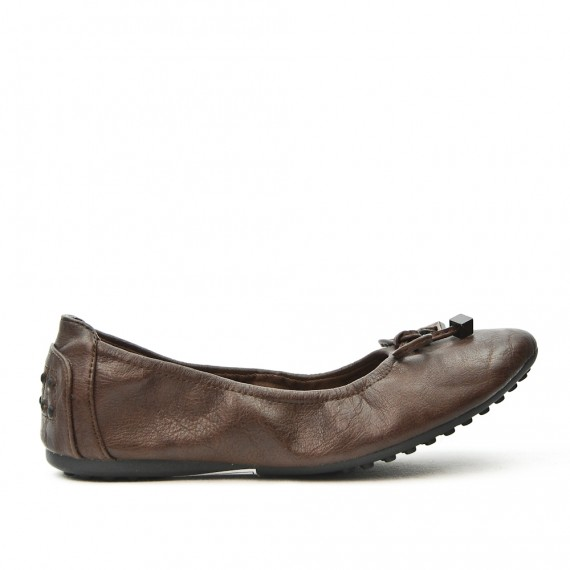 Brown comfort ballerina in faux leather with bow