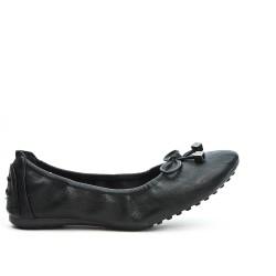 Ballerine confort noire en simili cuir à nœud
