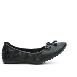 Black comfort ballerina in faux leather with bow