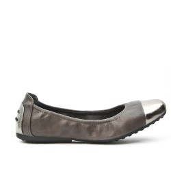 Gray comfort ballerina with metallic tip